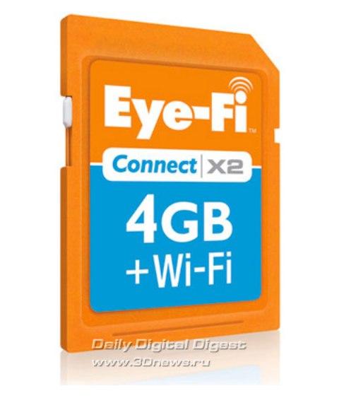 Фирма-производитель Eye-Fi наладила выпуск совершенно новой продукции - SD-карт, оснащенных модулем Wi-Fi.
